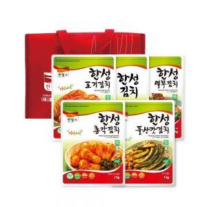 한성김치 선물세트 5kg(포, 백, 총, 갓, 열) + 보냉가방
